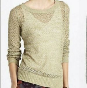 Anthro Guinevere Metallic Pullover Sweater